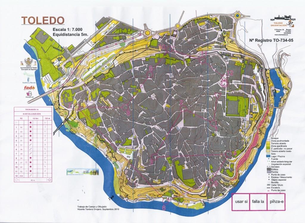 Mapa de carrera de orientación urbana en Toledo. Categoría H-senior